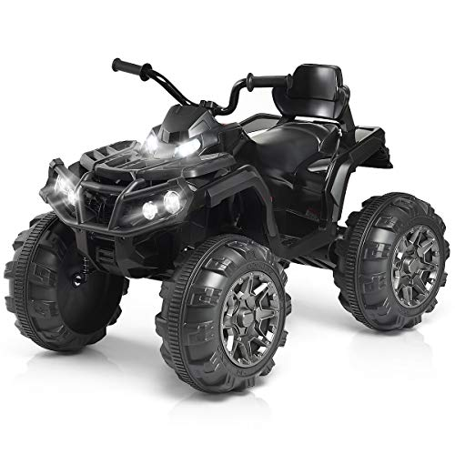 - Costzon Kids Ride On ATV, 12V Battery Powered 4 Wheels Quad w/Spring Suspension, High/Low Speeds, Headlights, MP3, Horn, TF, USB, Radio Functions, Electric Vehicle for Boys and Girls (Black)
