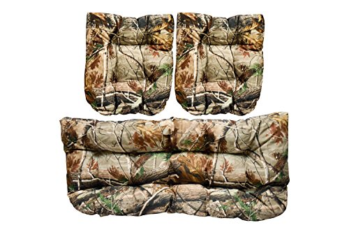 Resort Spa Home Decor 3 Piece Wicker Cushion Set - Realtree Brand Camo Camouflage Green Brown Tan Lodge Hunting Cabin Fabric Cushion for Wicker Loveseat Settee & 2 Matching Chair Cushions (Home Camouflage Decor)