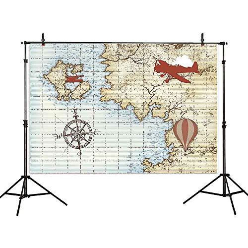 Allenjoy 7x5ft Vinyl Photography Background Marine Theme Airplane Vintage Nautical Hot Air Balloon Map Backdrops for Photography Boys Girls Kids Children Birthday Party Photo Background for -