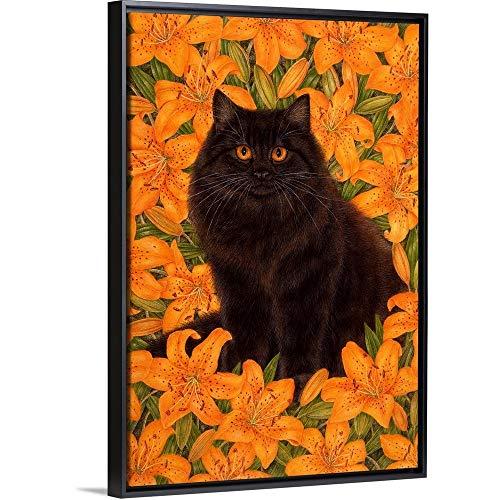 "Iris Black Floating Frame Canvas Art, 34""x50""x1.75"""