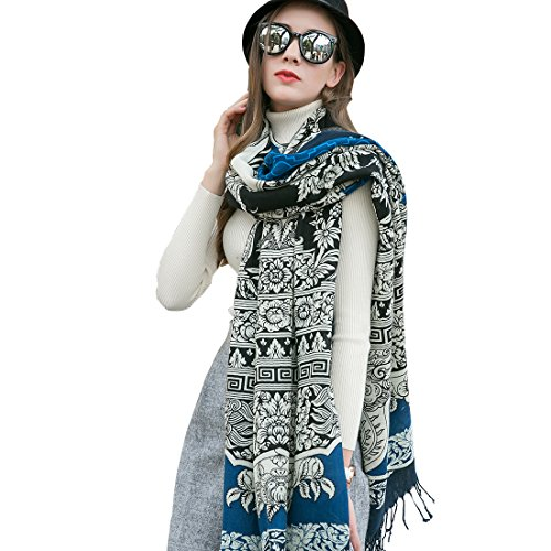 DANA XU 100% Pure Wool Women's Large Traditional Cultural Wear Pashmina Scarf (Blue)