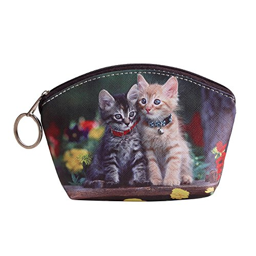 Powerfulline Women Girls Dog Cat Pet Faux Leather Clutch Short Coin Purse Wallet Gift - Faux Leather Coin Purse