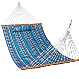 Lazy Daze Hammocks Quilted Fabric Double Size Spreader Bar Heavy Duty Stylish Hammock Swing with Pillow for Two Person, Peacock Green Stripe