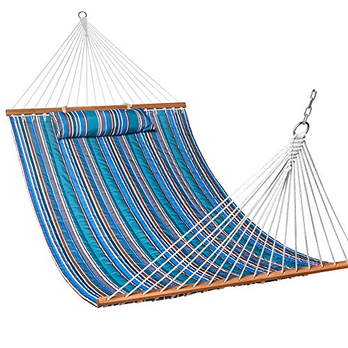 Lazy Daze Hammocks Quilted Fabric Double Size Spreader Bar Heavy Duty Stylish Hammock Swing with Pillow for Two Person, Peacock Green Stripe by Lazy Daze Hammocks