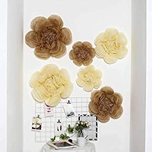 """Efavormart 6 Pack Taupe & Cream Assorted Size Giant Paper Peony Flowers Decor for Centerpieces Arrangement - 12"""" 
