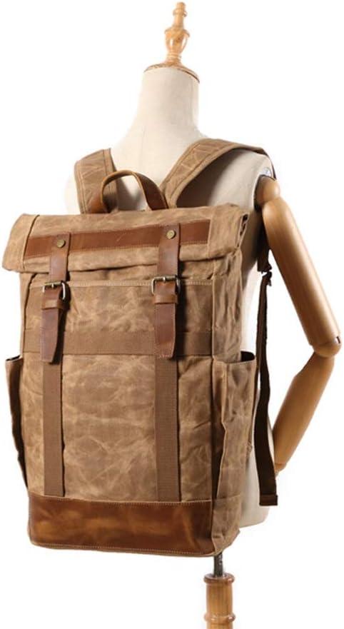 Daypacks casuali Zaino - Borsa Tela Casual Viaggio Vintage, multifunzionale Climbing Bag for uomini e donne, 31 × 12 × 48 cm, nero/marrone/grigio, Zaino (Color : Brown) Black pL9U0