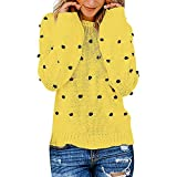 Youngh New Womens Sweatshirt Solid Dot Ball Loose Long Sleeve Casual Fashion Knitted Pullover Tops Sweater