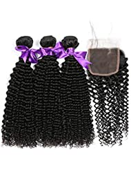 ALIPOP 10A Grade Brazilian Virgin Hair Kinky Curly Unprocessed Human Hair Weave 3 Bundles with Free Part Lace Closure For Black Women Hair Bundles Extensions Natural Color (18 20 22+16, Natural Color)