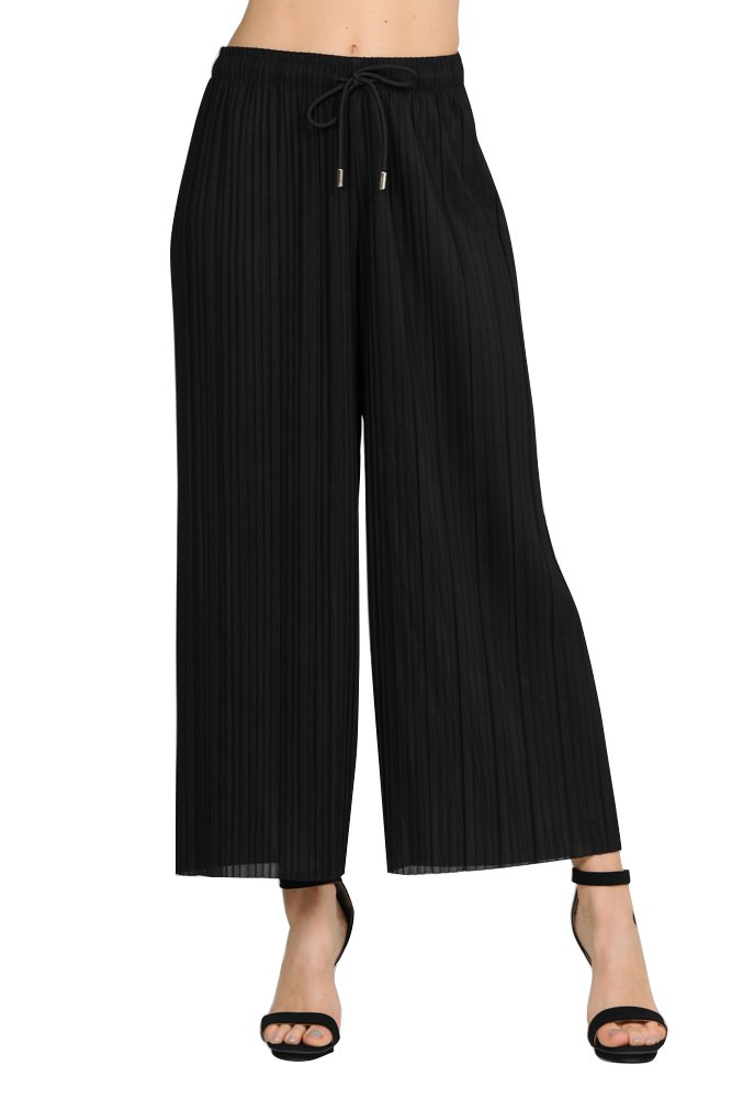 GAAM Wide Leg Pleated Palazzo Dress Pants for Women - High Waist with Drawstring - Cropped Ankle Black