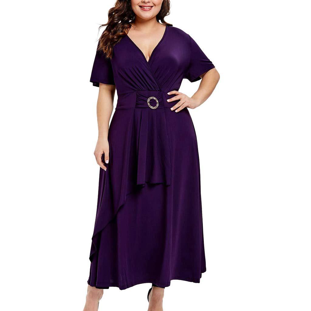 Purple,X-Large Nebwe Plus Size Fashion Skirt Women Solid Short Sleeve V-Neck Sashes Bandage Casual Dress Women