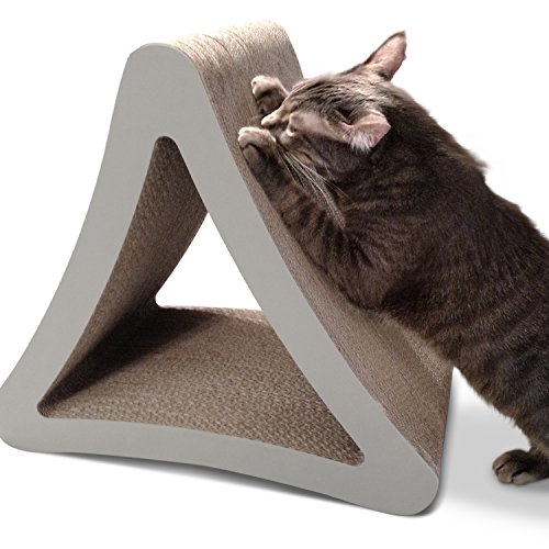 PetFusion 3-Sided Vertical Cat Scratching Post (Standard Size, Warm Gray).
