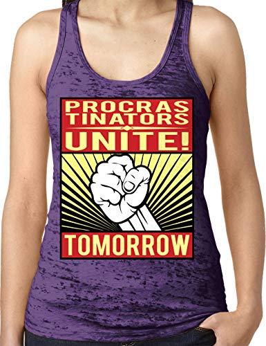 (Amdesco Ladies Procrastinators Unite! Tomorrow Burnout Racerback Tank Top, Purple Rush Small)