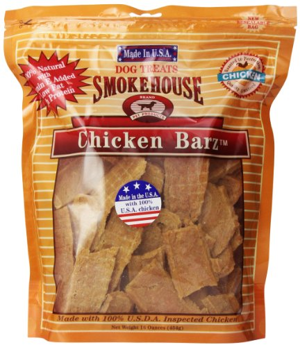 - Smokehouse 100-Percent Natural Chicken Barz Dog Treats, 16-Ounce