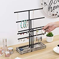 Earring Hangers MyGift 3-Tier Tabletop Black Metal Jewelry Organizer Stand with Necklace T-Bars Torched Wood Ring Tray