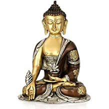AapnoCraft Brass Medicine Buddha Idols Thai Meditating Buddha Peace Harmony Statue with Triple Finish Long Ear Buddha Sculpture