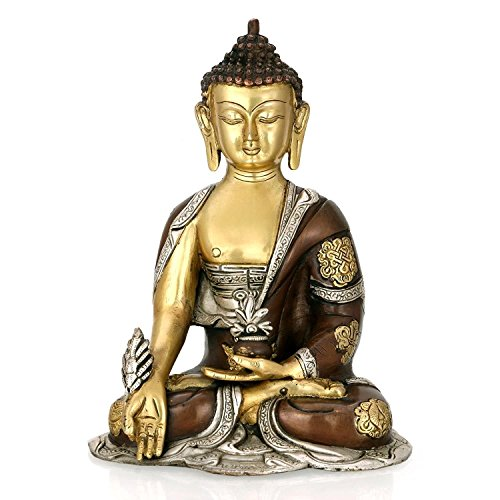 AapnoCraft Brass Medicine Buddha Idols Thai Meditating Buddha Peace Harmony Statue With Triple Finish Long Ear Buddha Sculpture by AapnoCraft
