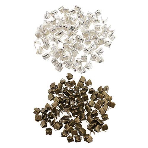 SM SunniMix 200 Pieces Silver and Bronze Crimp Clasps for DIY Necklace Choker Making Supplies, Flat Cord Ribbon Closure Findings, 0.24inch