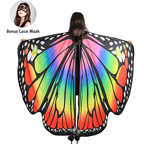 Easy Fairy Tale Halloween Costumes (SIPU Butterfly Wings for Women, Monarch Soft Butterfly Fabric Shawl Fairy Wings Cape Halloween Decor Costume Accessory with Lace Mask)