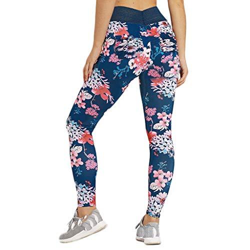 Floral Print Yoga Pants nikunLONG Ladies Fitness Yoga Running Training Tight Elastic Leggings Jogger Pants Blue