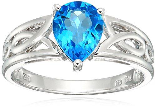 Blue Topaz Ribbon - Sterling Silver Ribbon Swiss-Blue-Topaz Ring, Size 8