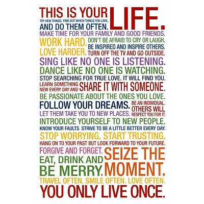 This Is Your Life Motivational Quote Poster 60x60 Cm Amazoncouk Impressive This Is Your Life Quote Poster