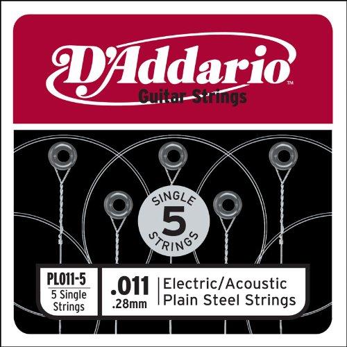 011 Plain Steel Electric Guitar (D'Addario PL011-5 Plain Steel Guitar Single String, .011 5-pack)