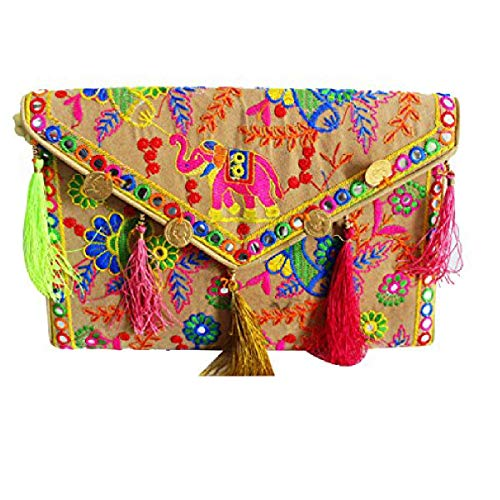 Lonika crossbody bags for women Boho Chic Handmade Embroidery Creem bag