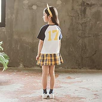 ACVIP Toddler Little Girls Plaid Skort Skirt Active T-Shirt Set