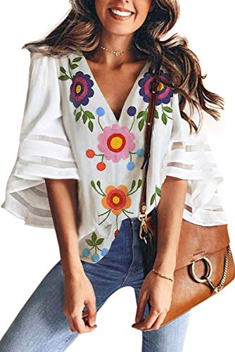 (ONLYSHE Women's V Neck Floral Print Bell Sleeve Shirt Casual Loose Chiffon Tops Blouse White XL)