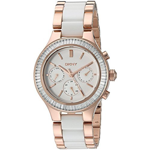 Authentic Ceramic Watch - DKNY Women's 'Chambers' Quartz Stainless Steel and Ceramic Casual Watch, Color:Rose Gold-Toned (Model: NY2498)
