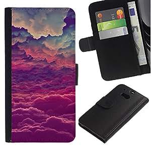 [Neutron-Star] Modelo colorido cuero de la carpeta del tirón del caso cubierta piel Holster Funda protecció Para HTC One M8 [Dios púrpuras Nubes inspiración]