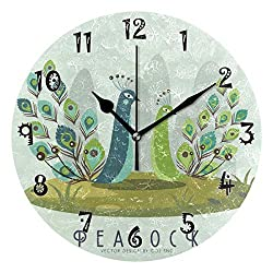 Dozili Vector Orange Peacock Wooden Round Wall Clock Arabic Numerals Design Non Ticking Wall Clock Large for Bedrooms,Living Room,Bathroom