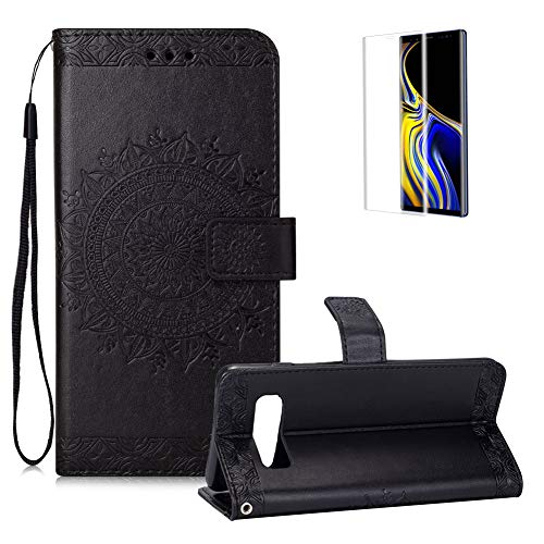 - FUNYYE Magnetic Flip Cover for Samsung Galaxy S10,Embossed Totem Flowers Pattern Luxury Soft PU Leather Wallet with Stand Card Holder Slots Protective Case for Samsung Galaxy S10,Black