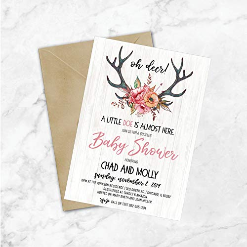 Oh Deer Baby Shower Invitations | Hunting Baby Shower Invitations | Antler Baby Shower | Deer | Elk | Little Doe | Antlers | Girl Baby Shower]()