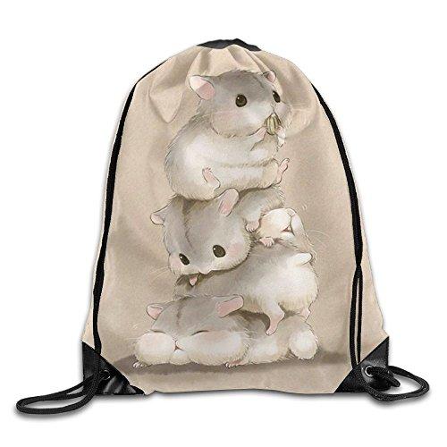 Hamster Art Drawstring Backpack Rucksack Shoulder Bags Training Gym Sack For Man And Women