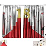 Jinguizi 18th Birthday Curtain for Bathroom Hollywood Greeting for a 18 Year Old Star Party Red Carpet Image Print Darkening Curtains Red Silver and White W55 x L39