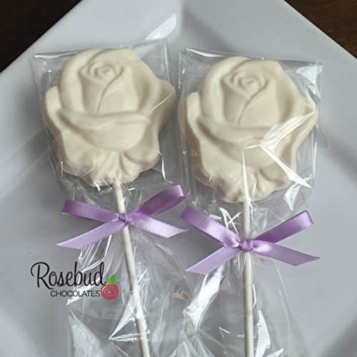 ROSE White Chocolate Lollipops Candy Party Favors ()