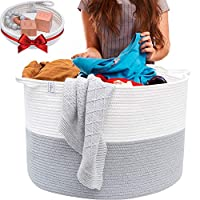 Blanket Basket Cotton Rope Basket - XXL Extra Large Woven Basket with Bonus Woven Storage Basket Tray - Woven Storage Baskets Perfect as a Toy Basket, Blanket Basket, Rope Laundry Basket