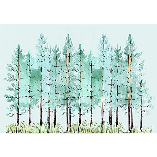 SUMGAR Self Adhesive Wall Murals Green Birch Trees Custom Wallpapers Forest Nature Picturs Home Decorations,100x144 inches