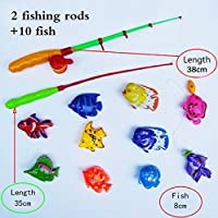 Blossom Magnetic Fishing Game Series Toy for Kids with 2 Fishing Rods & 10 Colorful Fishes, Multicolor