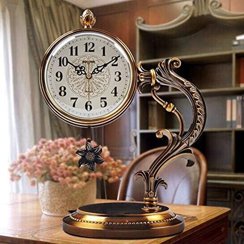 KUQIQI 事務用時計、金属製時計、柱時計、デスククロック、リビングルーム、サイレント置時計、振り子時計 (Color : B)