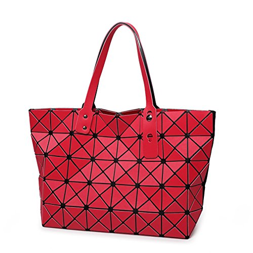 Bag Folding Matt Metal Drawing Shoulder Handbag Bag Fashion Casual Women Tote Handle Bag Geometric Shoulder Bag Red
