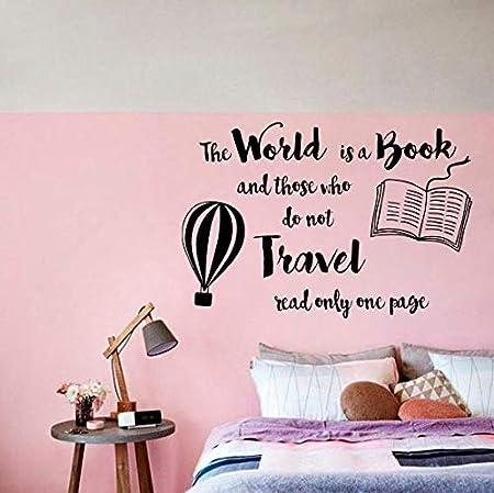World is Book Quote Etiqueta de la pared Diseño de viaje Arte de ...