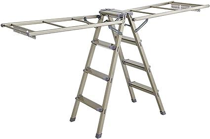 Escalera plegable de aleación de aluminio de cuatro pasos Escalera, plegables suspensión de ropa Quilt/capa Tendedero de doble finalidad del marco de la escalera Anti-diapositiva Stool multifunción: Amazon.es: Coche y moto