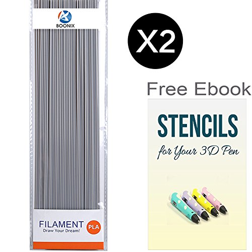 3D Pen Filament Refills - 2 Pack Bundle with 40 Strands Per Package, 80 Strands in ALL - 66FT Long for 3D Printing - 1.75MM PLA Eco-Friendly Plastic - FREE BONUS Stencil Ebook ( Gray ) (Pens From Target compare prices)