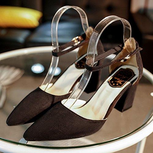 Xue Qiqi Tipp Schwarz Satin und High Heels und Satin auf unebenem Boden mit 100 Studenten mit einer einzelnen Schuhe weiblich 37 Schwarz (die Klammer geschlitzten integrieren) ae7f9e
