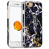 Marble Case iPhone 7, GMYLE [IMD Design] Marble Flexible Soft Smooth TPU Protective Cover Case for iPhone 7 4.7 inch - Black Marble