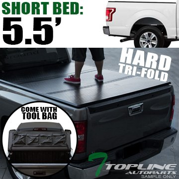 Topline Autopart Solid Tri Fold Hard Truck Bed Tonneau Cover With Tool Bag For 15-18 Ford F150 Super Crew (Crew) Cab 5.5 Feet (66
