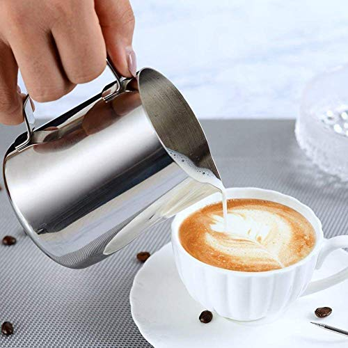 Milk Frothing Pitcher - Stainless Steel Measurement Inside the frothing Cup with Latt Art Pen by Fly Skyline (Image #8)