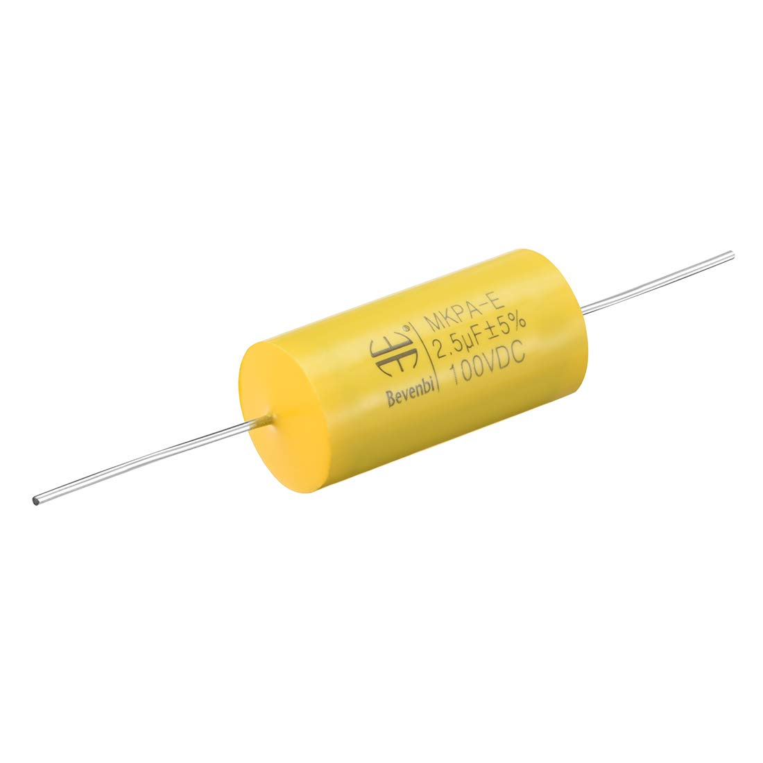 sourcing map Condensador de pel/ícula Redondo 3.0uF 100V DC Condensador de pel/ícula de Polipropileno axial para Divisor de Audio Amarillo